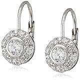 Sterling Silver Cubic Zirconia Lever Back Earrings (3.2 cttw)