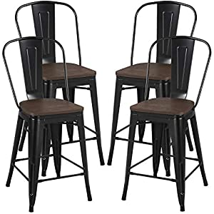 Yaheetech 24Inch Seat Height Tolix Style Dining Stools Chairs with Wood Seat/Top and High Backrest, Industrial Metal…