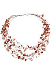"""NOVICA Cultured Freshwater Pearl and Carnelian Beaded Necklace, 20"""", 'Warm Shower' with Extender"""