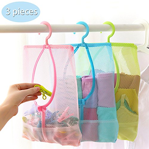 TFY Hanging Mesh Storage Organizer Bag with 360°Rotation Hanger for Kitchen, Bathroom and Wardrobe(11.8 inch X 10.2 inch, 3 Pieces