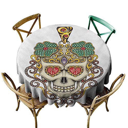 StarsART 3D Printed Tablecloth Day of The Dead,Sugar Skull with Heart Pendants Floral Colorful Design Print,White Ivory and Yellow D54,Rectangle Desk