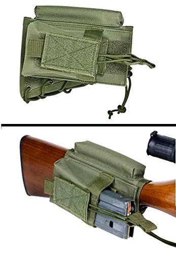 Ultimate Arms Gear Cheek Rest Riser Pad with Tactical/Military Magazine Ammo Pouch Holder Carrier Stock Buttstock, OD Olive Drab Green