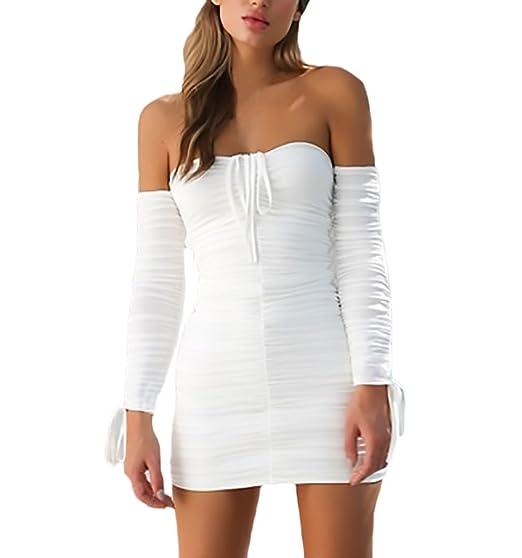 cdf73d56f713d Vestiti Donna Eleganti Corti Vestito Tubino Manica Lunga Senza Spalline  Shirred Abiti Da Cerimonia Primavera Moda