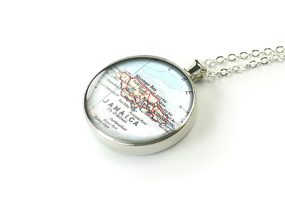MapPendant Handmade 1953 vintage Jamaica silver necklace jewelry