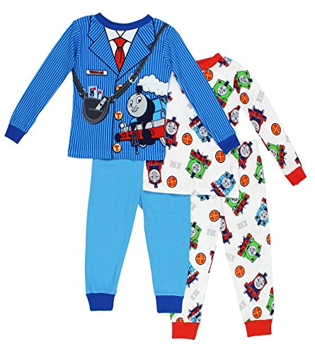 Toddler Conductor Outfit (Thomas the Train & Friends Boys 4 piece Pajamas Set (4T, Costume Blue/White))