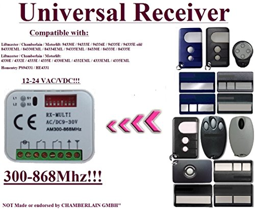 Universal receiver Compatible with Liftmaster / Chamberlain / Motorlift / Homentry 4330E / 4330EML / 4332E / 4332EML / 4333E / 4333EML / 4335E / 4335EML / HE4331 remote controls. 2-ch 12-24V receiver by universal receiver 300Mhz-868Mhz 12-24Vac/Vdc