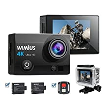 WiMiUS Sports Action Camera 4K WIFI HD 16MP Waterproof Video Camera 170°Wide Angle 2.0''LCD Screen With 2.4G Wrist Remote Control Include 2pcs Batteries With Accessories Kits(Q3 Black)