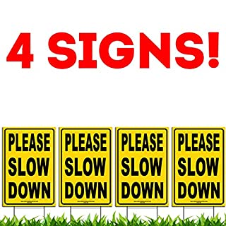 """Bundle of (4) Please Slow Down 12"""" x 18"""" Yellow Safety Sign + Metal Ground Stakes"""