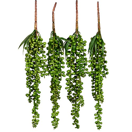 Artiflr 4pcs Artificial Hanging Plants Fake Succulents String of Pearls Fake Hanging Basketplant Lovers Tears Succulent Branch for Home Kitchen Office Garden Wedding Decor
