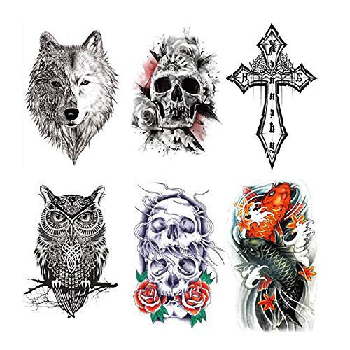 Halloween Temporary Tattoos Sticker Glitter Red Roses Flower Skull Eagle Owl Fish Tiger Wolf Cross Feather Fake Waterproof Removable Scary Face Tattoos For Halloween Masquerade Cosplay Makeup Party
