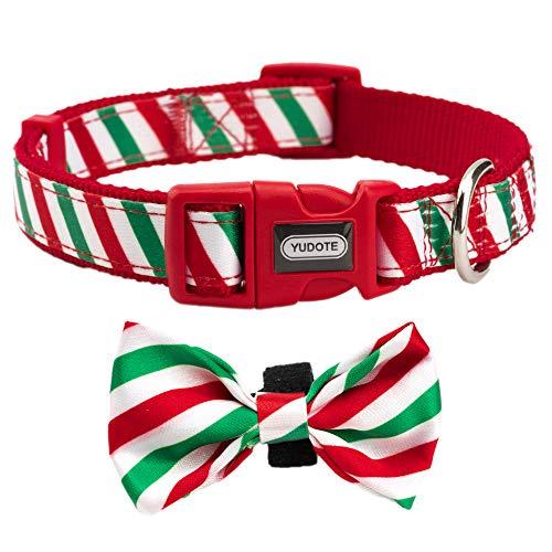 Christmas Collar Ribbon Dog Pet (YUDOTE Dog Collar with Detachable Bow Tie, Christmas Stocking Gift, Neck 12
