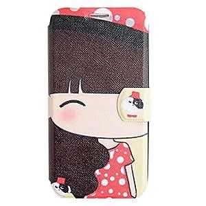 ZXM-Red Cloth Case cuero de la muchacha con el soporte para Samsung i9500 Galaxy S4