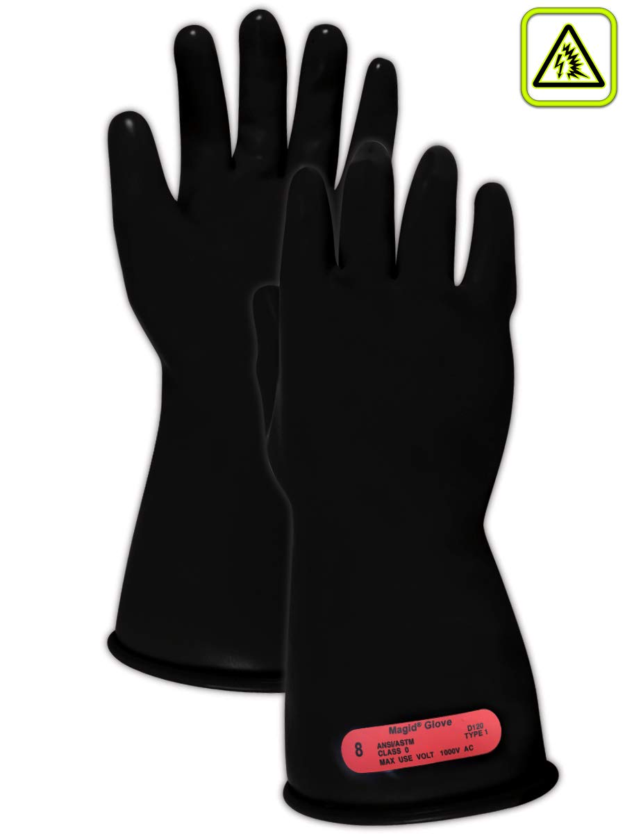 Magid Safety M011B9 Electrical Gloves   ASTM D120-09 Compliant Class 0 Rubber Electrical Insulating Gloves with Straight Cuff, Work, 11'' Length, Size 9, Black (1 Pair) by Magid Glove & Safety (Image #1)