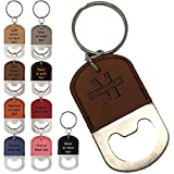 Personalized Engraved Leatherette Bottle Opener Keychain – Groomsmen gift, wedding party favor, (Rose Red w/ black engraving) For Sale