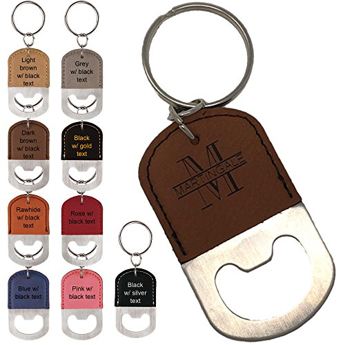Personalized Engraved Leatherette Bottle Opener Keychain - Groomsmen gift, wedding party favor, (Light brown w/ black engraving) ()