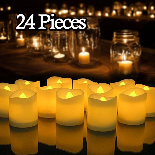 24PCS Flameless Votive Candles Battery Operated Flickering LED Tea Light (Centerpiece Customized Chocolate)
