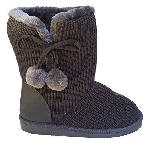 Elegant Women's Classic Knit Sweater Crochet, Faux Fur Lined Mid Calf Grey Flat Boots 7, M US