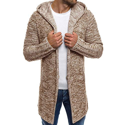 Sumen Men Autumn Winter Hooded Trench Coat Knitted Open Front Sweater Cardigan