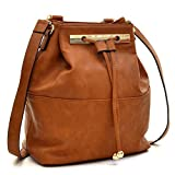 Dasein Fashion Leather Convertible Drawstring Bucket Bag and Backpack - Brown
