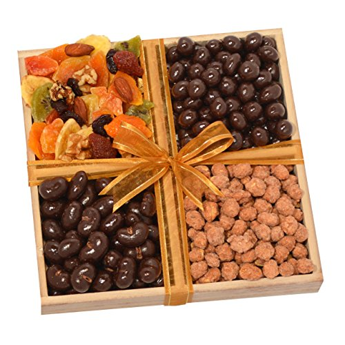 Chocolate, Deluxe Dried Fruit and Flavored Nuts Gift Tray - Lactose Free Candy Chocolate Dried Fruit