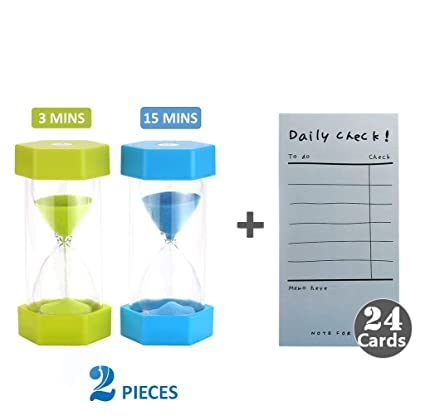 Sand Timer Colorful Hourglass Timer 3 Minutes 15 Minutes Timer Clock for  Kids Games,Classroom, Bathroom, Home Office plus Note Card (24 Pack)