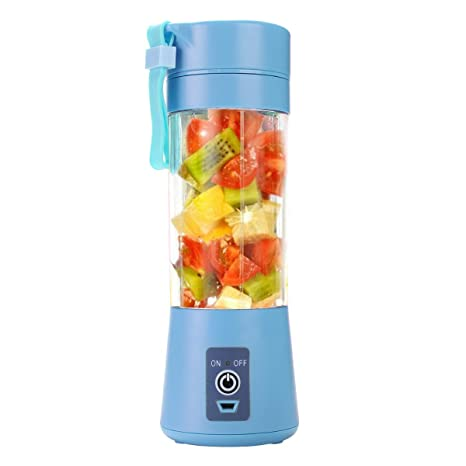 Portable Blender, Smoothie Juicer Cup - Six Blades in 3D, 13oz Fruit Ice Mixing Machine with 2000mAh USB Rechargeable Batteries, Detachable Cup, FDA, ...
