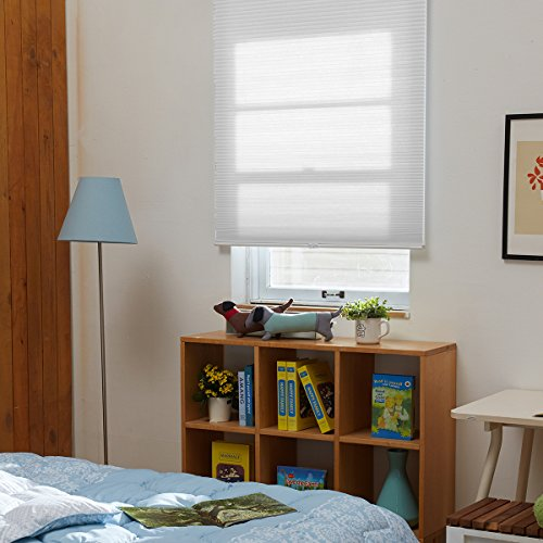SBARTAR Honeycomb Cellular Shades Cordless Light Filtering for Windows Inside & Outside Mount, 34 x 36 inch, White(Light Filtering) (Top Down Bottom Up Faux Wood Blinds)