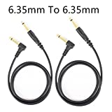 2Pack 5FT 6.35mm Guitar Cable Wire Effect Pedal Cable Cord - 1/4'' male TS to 1/4'' male TS Audio Extension Connection Cable for DVD Player TV Recorder CD Machine Organ Electronic Amplifier Mixer