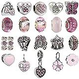 N'joy 20PC Assorted Crystal Rhinestone Charm Beads,Clap,Dangle Pendant,Fit European Charm Bracelet,October Birthstone (Love-Rose Pink)
