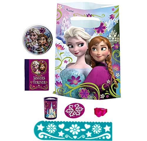 Party City Frozen Basic Favor Supplies for 8 Guests, Include Plastic Favor Bags and a Complete Party Favor Pack of Toys ()