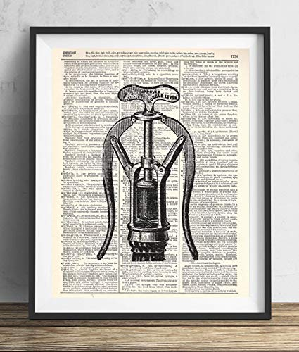 Vintage Corkscrew (Vintage Corkscrew Illustration Upcycled Dictionary Art Print 8x10)