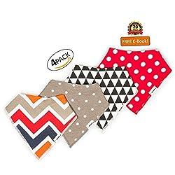 Elefuntot Bandana Drool Bibs 4 Pack Gift Set w/ Heat Sensing SPOON | 100% Organic Cotton For Extra Comfort, Very Absorbent Keeps Baby Dry | Hypoallergenic | 2 YKK Snaps, Cute Stylish For Boys & Girls
