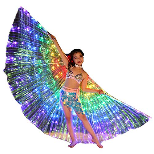 Children Kids Multicolor LED Isis Wings Glow Light Up Belly Dance Costumes Sticks Performance Clothing Carnival Halloween (A #) ()