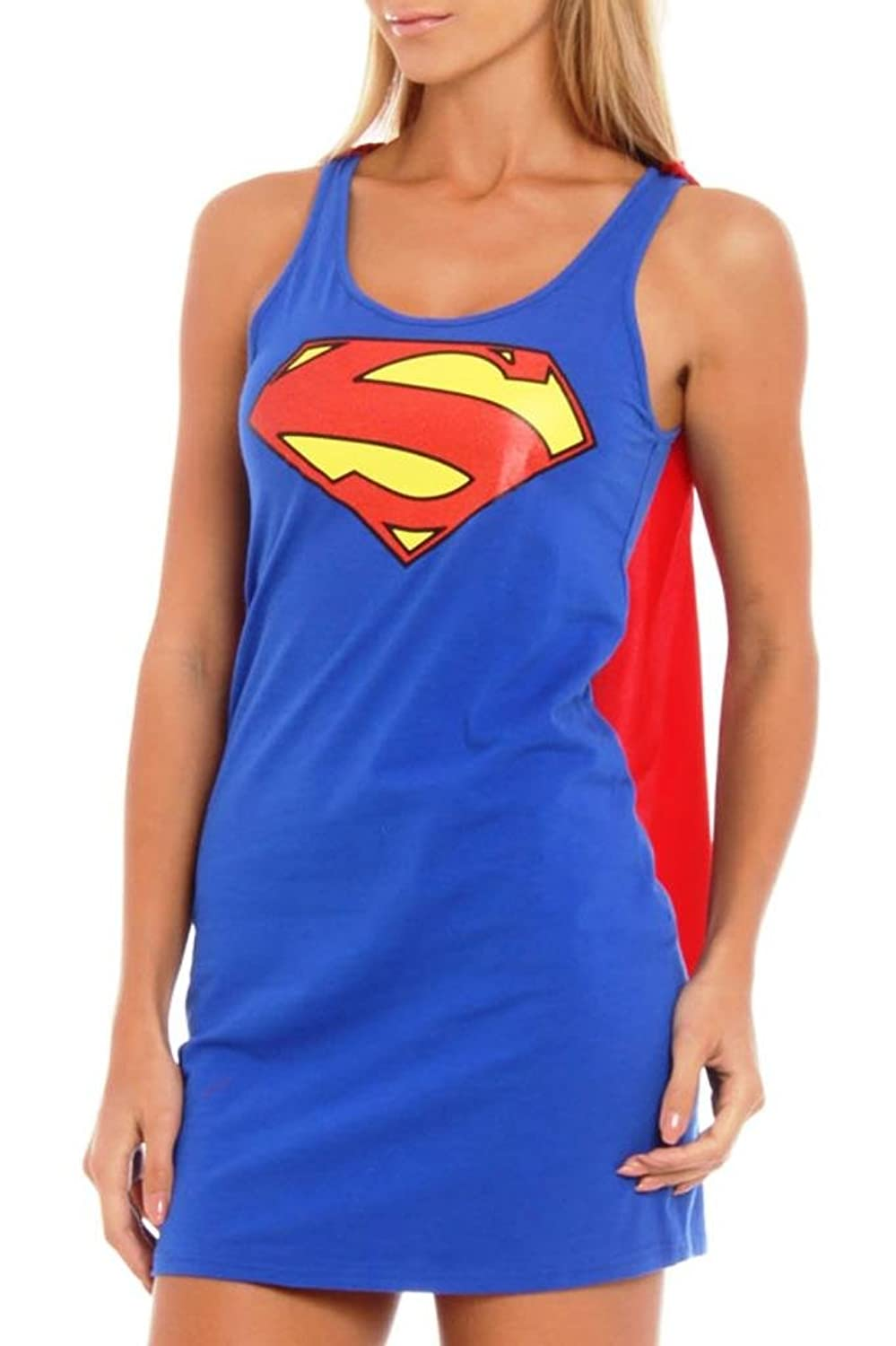 DC Comics Supergirl Red Foil Logo Sleep Tank Dress with Cape