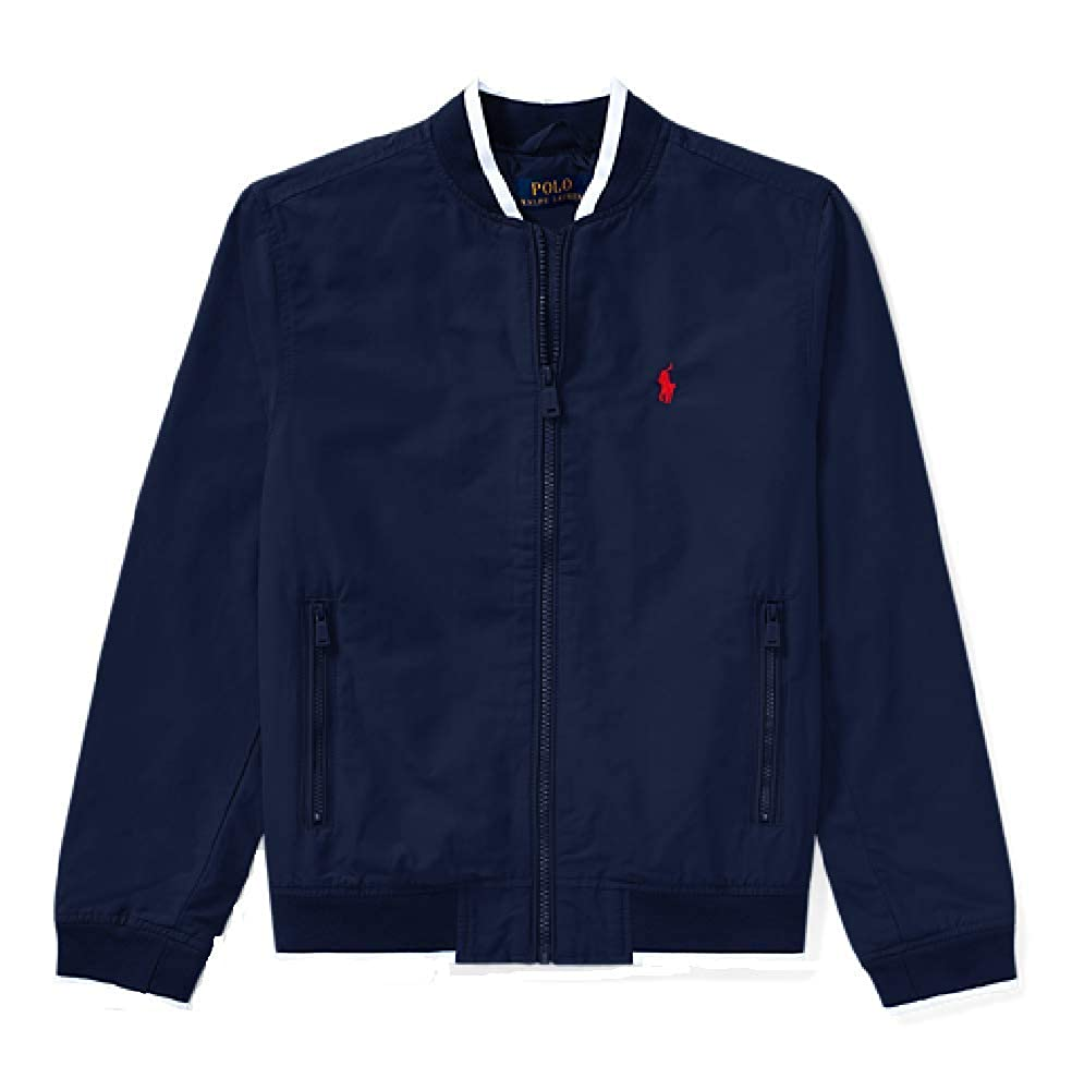 RALPH LAUREN Cotton Blend Boys Baseball Jacket, Color Newport Navy,Sizes S & M Sizes S & M (M(10-12))