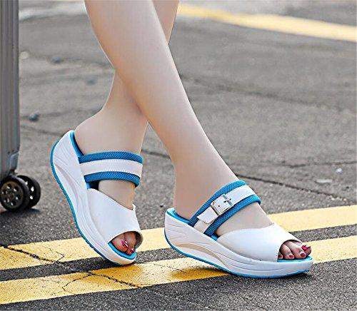 Casual Air Fitness Blue Lightweight IINFINE Platform Shoes Women's Walking Sneakers Tennis wq7aUPXA