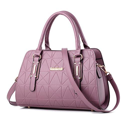 For Handbags Women Handbags Shoulder Bags Bowling Bag Purple Leather Briefcase Fekete