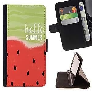 King Art - Premium-PU-Leder-Prima caja de la PU billetera de cuero con ranuras para tarjetas, efectivo Compartimiento desmontable y correa para la mu?eca FOR Samsung Galaxy Note 4 SM-N910 N910 IV- Watermelon Fruit Cute