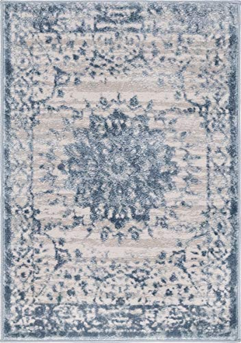 Unique Loom Aberdeen Collection Textured Traditional Vintage Tone-on-Tone Light Blue Area Rug (2' 2 x 3' 0)
