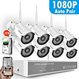 [Full HD] Security Camera System Wireless,Safevant 8CH 1080P Wireless Security Camera System(2TB Hard Drive),8PCS 1080P(2.0MP) Inddor/Outdoor IP66 Wireless Security Cameras,Plug&Play,NO Monthly Fee