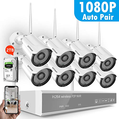 HD 1080P 8CH Security Camera System Wireless,SAFEVANT Security Camera System(2TB Hard Drive),8PCS 1080P(2.0MP) Inddor/Outdoor Wireless IP Cameras,Plug&Play,NO Monthly Fee