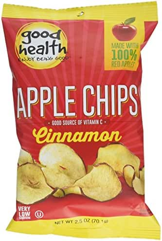 Good Health Apple Chips, Cinnamon, 2.5 oz. Bag, 12 Pack –Crispy Apple Chips Made with 100% Red Apples, Great for Lunches or Snacking on the Go