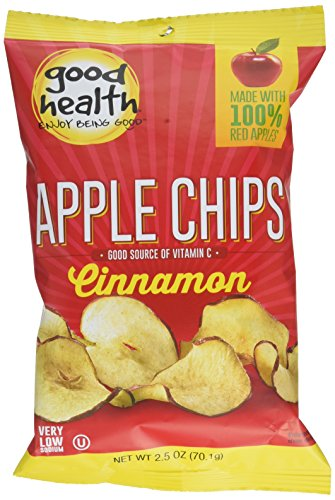 Good Health Apple Chips, Cinnamon, 2.5 oz. Bag, 12 Pack -Crispy Apple Chips Made with 100% Red Apples, Great for Lunches or Snacking on the Go
