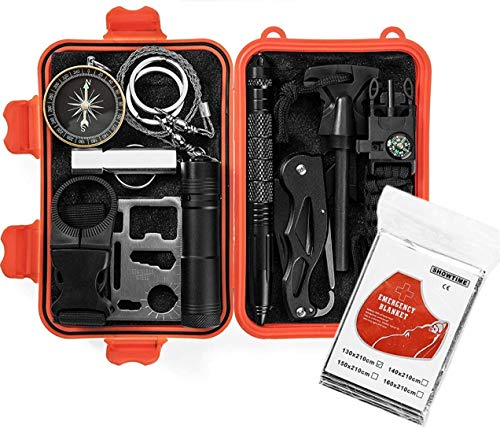 Gear in a Kit Emergency Survival 13 in 1 Gifts for Men, dad, Husband, Girls, Boys, Scouts-Mini Gadgets & Tools for Car, Camping, Hiking, Hunting, Outdoor Climbing Adventures, Backpacking or Traveling