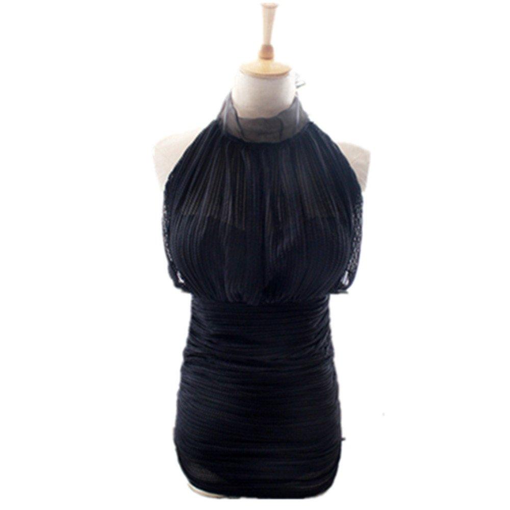 女性の 水着 Ms. 集まる ワンピースドレス に適して 水泳 ウェディング エクササイズ スパ B07F1G42XM L|ブラック