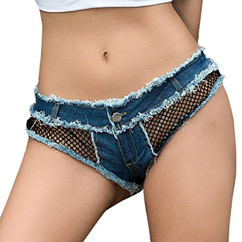 Ai.Moichien Women's Sexy Mesh Splicing Low Waist Mini Booty Denim Jeans Thong Shorts Clubwear
