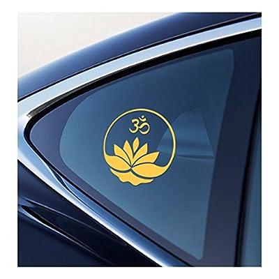 Lotus Flower with Om Symbol Vinyl Car Window Decal Sticker (yellow): Automotive
