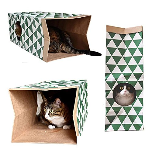 LightbyBox Cat Paper Bag Tunnel - Cat Activity Play Tunnel Cat Toy- Fun Interactive Cat Toys - Hiding - Sneaking - Gift for Cat Lovers