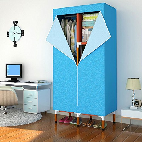 LJ&L Folding portable cloth wardrobe, clothing storage cabinet, steel frame skeleton and Oxford fabric, zipper open,A1,34.66718.5inch by LIUJIANGLONG