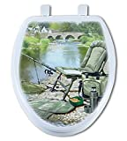 Artisans Seats Decorative Toilet Seats, COFFEE BREAK FISHIN, Made In America: Round